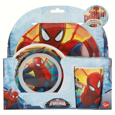 Ultimate Spiderman Melamine Breakfast Dinner Meal Plate Bowl Cup 3 Piece Set