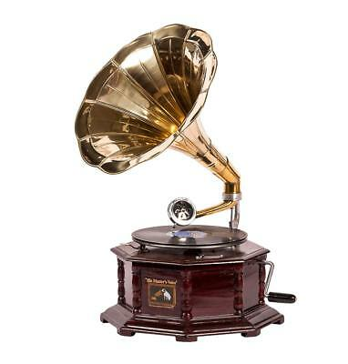 Gramophone HIS MASTER VOICE wooden and brass FUNCTION octagonal