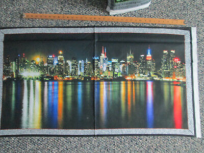 Nyc New York Skyline Digital Colors Cotton Fabric Panel