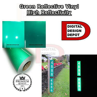 "Reflective  Sign Vinyl Adhesive Cutter Hight Reflectivity 24"" x 150 Feet GREEN"
