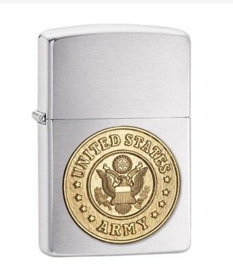 Zippo Brushed Chrome lighter has the United States Army® emblem attached