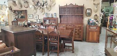 Vintage Custom Mesquite Mediterranean Spanish Style Table, 8 Chairs & Hutch