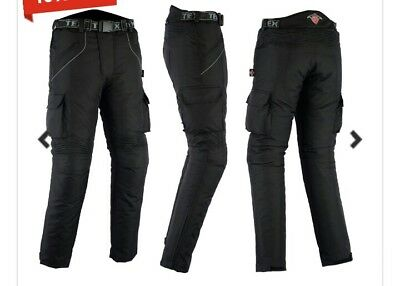 S198# Texpeed Black Waterproof Armoured Trousers Size 32 28 RRP £69