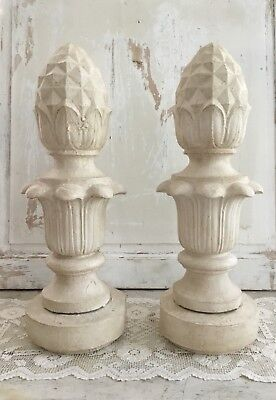 Antique Pair of Painted Cast Iron Pineapple Lamp Post Finials