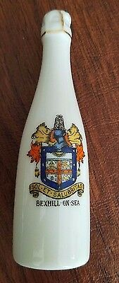 """Crested china Bexhill-on-Sea pepper shaker champagne bottle """"Sol et Salubritas"""""""