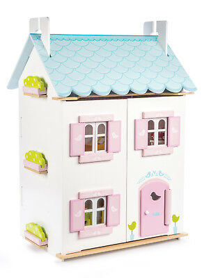 Le Toy Van Blue Bird Cottage with Furniture, Wooden Dolls Houses,