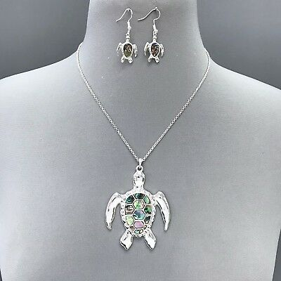 Antique Silver Abalone Color Sea Turtle Pendant Necklace with Matching Earrings