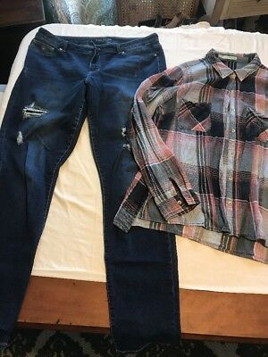 Womens Maurices Lot XL Long Jeggings & XL Lt Wt Flannel