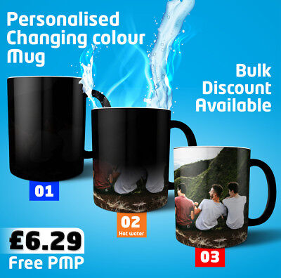 "NEW ""MAGIC MUG"" Custom Printed Photo Mug Image /Text on Heat Changing Cup"