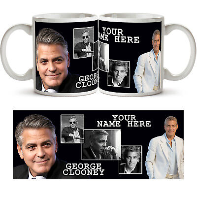 GEORGE CLOONEY PERSONALISED Ceramic Photo Mug Cup Tea Coffee Add Name Gift New