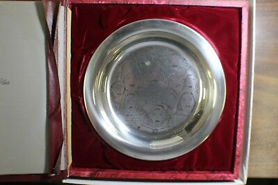 Norman Rockwell 1973 The Charles Franklin Christmas Sterling Silver Plate