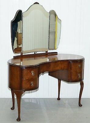 Stunning 1930's Flamed Mahogany Kidney Shaped Dressing Table Tri-Fold Mirrors