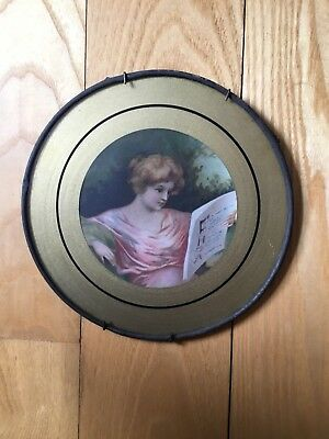 Victorian Antique Girl Woman Reading Book Chimney Flue Cover