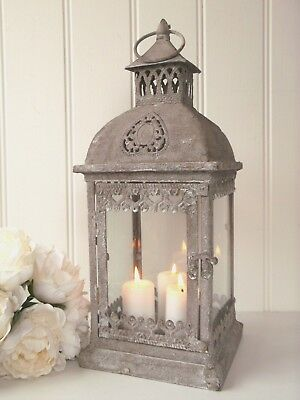 Large Vintage Style French Grey Metal Lantern Candle Holder Rustic Shabby Chic