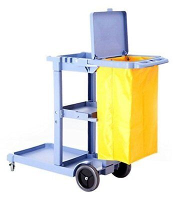 Commercial Housekeeping Janitorial cart with Vinyl Bag & Cover Gray