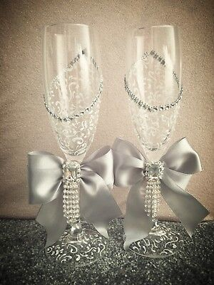 Hand Painted Wedding Bride and Groom champagne flutes glasses with ribbons Grey