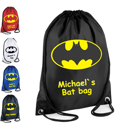 PERSONALISED Drawstring Bag BATMAN Bag for Kids Children School Gym Gym Gift