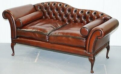 Fully Restored Chesterfield Buttoned Cigar Brown Leather Chaise Lounge Sofa