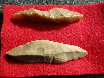 Stone Arrowhead, Native American, Paleo Flake Knives, Set Of Two(2)....#01834