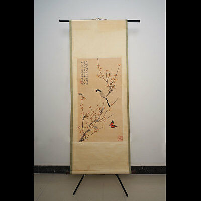 Long Chinese Classical Scroll Flower And Bird Painting Marks YuFeige Rare Art