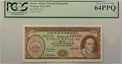 1976 Macau Banco Nacional 5 Patacas Note SCWPM# 54a PCGS 64 PPQ Very Choice New