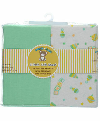 Honey Baby Green Toy Toddler Bed or Crib Sheets 2-Pack (100% Cotton)