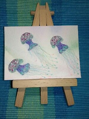 Original ACEO watercolour, pencil and pen - group of 3 jellyfish