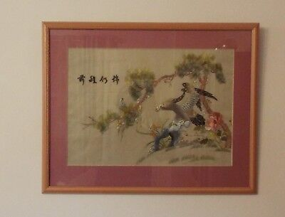 Oriental Chinese / Japanese Embroidered Picture Of Eagle In Wooden Frame