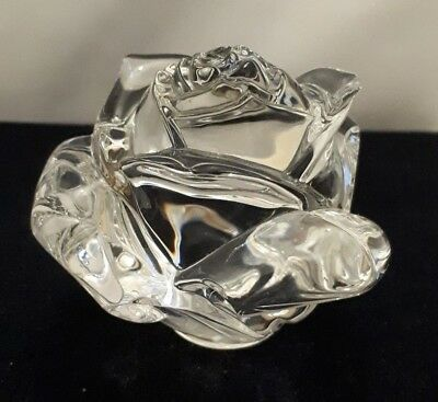 RARE Waterford Irish Crystal Clear Rose Paperweight - VGC