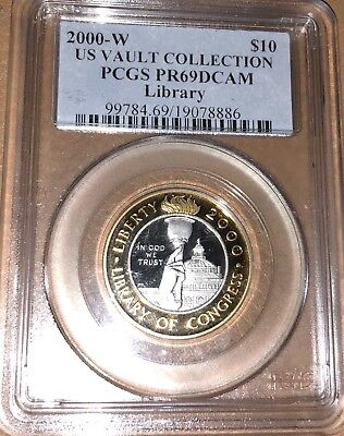 2000 W U.S. Library of Congress Bi-metallic Gold, Platinum $10 PCGS PF69 Cameo