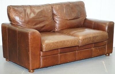 Rrp £1899 Vintage Heritage Aged Brown Leather Halo Soho Two To Three Seater Sofa