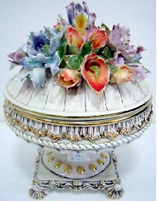"""Capodimonte Style Tureen with Flower Cover/Lid  -18"""""""