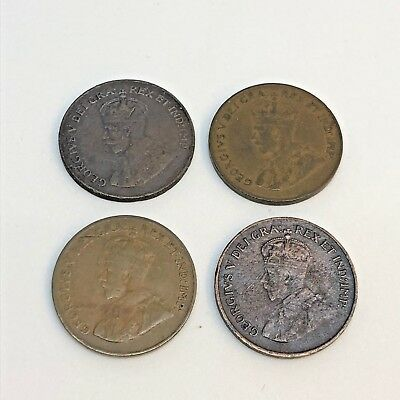 Canada Small 4 Coin Set 1922, 1923, 1924, 1925 1¢ One Cent Better Dates