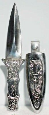 """Engraved Silver Toned Athame Dagger w/ Sheath 6"""" Wicca Pagan Ritual Magick Blade"""