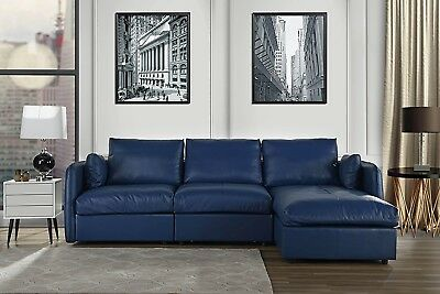 L-SHAPE COUCH LIVING Room Real Leather Sectional Sofa with Chaise ...