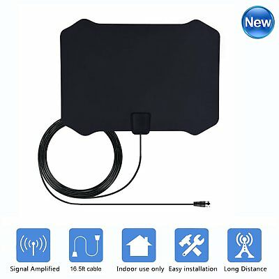 New 50 Miles HDTV Digital HD TV Antenna Indoor Amplifier VHF UHF Amplified Fox