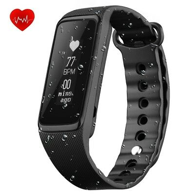 (Black) - Fitness Tracker Heart Rate Monitor, Weloop 3ATM(_IP68) 30M Swimming