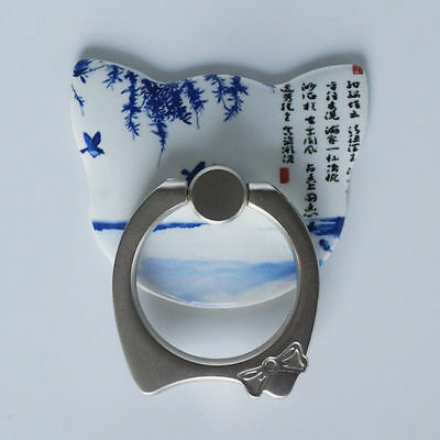 Blue and White Pattern New Mount Holder Premium Ring Kickstand For Smartphones
