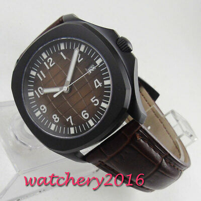 44mm Parnis black Dial SS Case leather 6498 hand winding Movement men's Watch