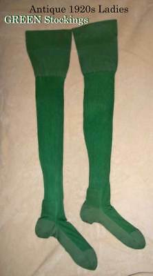 1920s RARE ** GREEN** Hosiery Stockings w  Back Seam Havana Heel sz 8 ½""