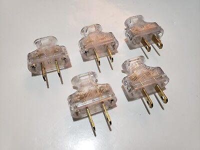 5 PACK Vintage Clear Antique Style Electrical Plug Cloth Covered Wire Lamp Cord