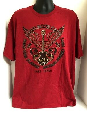 Save The Planet Lake Tahoe Hard Rock Cafe Mens Red T-Shirt Sz XXL