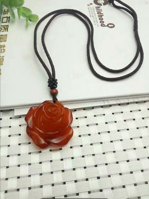 China natural beauty  red agate jade medullary hand-carved rose pendant necklace