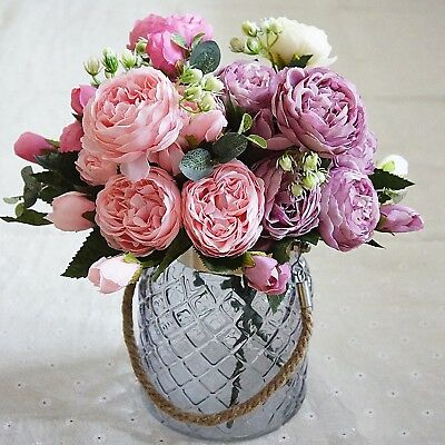 1x Artificial Silk Peony Flowers Bouquet Fake Leaf Wedding Party Home Decoration