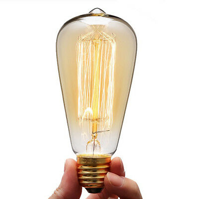 Retro E27 LED Edison Style Teardrop Spiral Light Tungsten Filament Bulb Decor