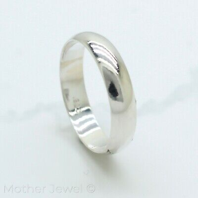 5Mm Real Genuine Solid 925 Sterling Silver Plain Wedding Mens Womens Band Ring