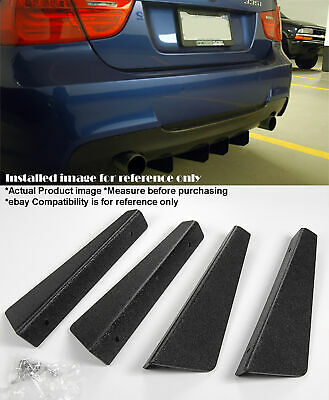 "Black 4 Pieces 12"" x 2.87"" ABS Textured Rear Bumper Diffuser Shark Fin For Chevy"