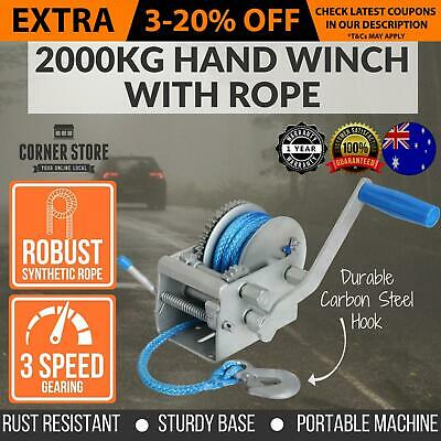 Giant 2000KG/4410LBS 3 Speed Hand Winch Dyneema Sythetic Rope Boat Car Trailer