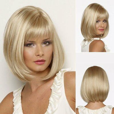 Golden Blonde Hair Replacement Wigs Straight Hairpieces Fancy Party Wig Short AU