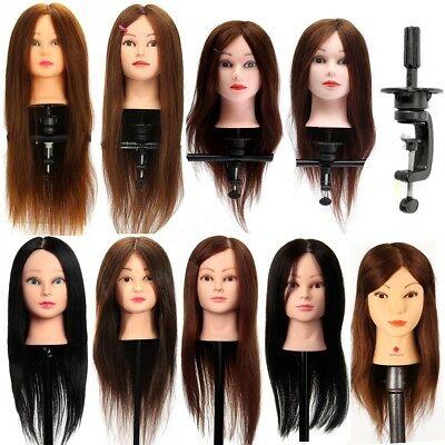 100% Real Human Hair Training Head Hairdressing Cutting Doll Mannequin + Clamp